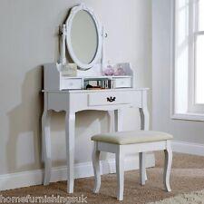 Lumberton Dressing Table Set Dresser Makeup Desk 3 Drawers & Padded Stool Seat White