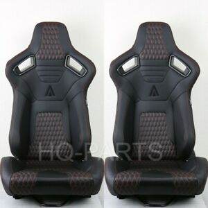 2X TANAKA PREMIUM BLACK CARBON PVC LEATHER RACING SEATS + RED STITCH FITS NISSAN