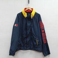 Vintage Tommy Hilfiger Light Jacket Size 2XL Blue Red 90s Spell Out Crest Flag