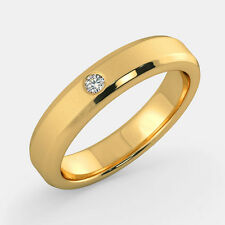 0.11 Ct SI1 Certified Diamond Wedding Ring 14K Yellow Gold Mens Bands Size U V