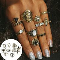 10Pcs/Set Fashion Women Vintage Silver Gold Knuckle Finger Midi Rings Jewelry