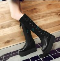 Womens Goth Punk Combat Knee High Lace Up Platform Military Boots Creeper Shoes