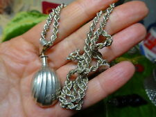 Vintage Sterling Silver Rope Chain with Perfume Bottle Pendant