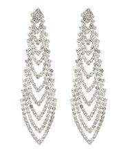 CLIP ON EARRINGS - silver chandelier earring with clear crystals - Calla S
