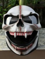 Motorcycle Helmet Skull Death Visor Flip Up Shield White Ghost Rider Full Face