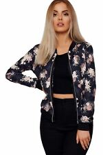 New Womens Butterfly Floral Print Long Sleeve Zip Up Party Bomber Jacket Top