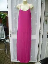 BEAUTIFUL PINK STRETCHY STRAPPY V BACK MAXI DRESS WITH DEEP SIDE SPLITS SZ 18