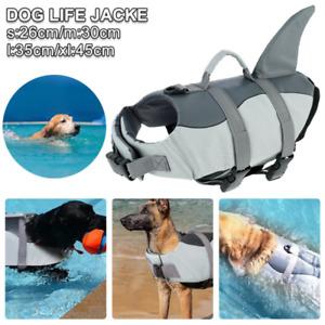 Dog Life Jacket Adjustable Pet Safety Swimming Shark Float Buoyancy Aid Vest