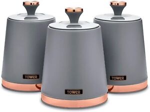 Tower T826131GRY Cavaletto Set of 3 Storage Canisters for Coffee/Sugar/Tea, Carb