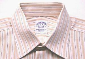 BROOKS BROTHER white lt orange green brown stripe cotton dress shirt size 16-35