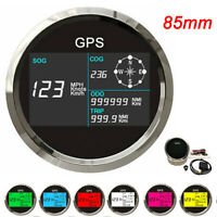 85mm Boat Car GPS Speedometer Digital LCD Speed Gauge Odometer Course w/ Antenna