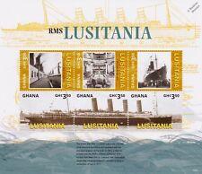 Primera Guerra Mundial 1915 hundimiento de RMS Lusitania Ocean Liner Hoja de sellos de la nave (2015) Ghana