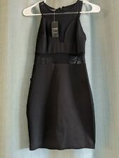 """bebe"" ""mesh"" contrast ponte dress sleeveless black size xxs NWT $99"
