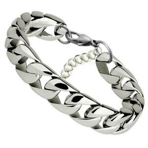 Silver Stainless Steel Curb Cuban Link Chain Bracelet Unisex Women Men Fashion