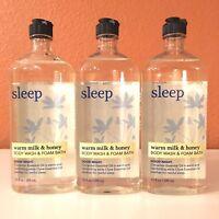3 BATH & BODY WORKS AROMATHERAPY SLEEP WARM MILK & HONEY BODY WASH SHOWER GEL