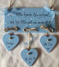 shabby chic personalised new baby boy keepsake christening plaque gift  sign