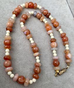Beautiful Semi Precious Round Beads Necklace & Bracelet ~ Carnelian Citrine ~New