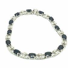 14k White Gold Natural Sapphire and Diamond Bracelet