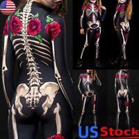 US Women's Halloween Cosplay Jumpsuit Skeleton Print Skinny Long Sleeve Catsuit