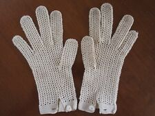 Vintage Hand Made in France Crochet Lace Dress Buttoned Tan Gloves SMALL
