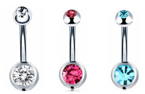 3Pcs/Set  Belly Button Ring Navel Bar Piercing Stainless STEEL DOUBLE Jew Belly