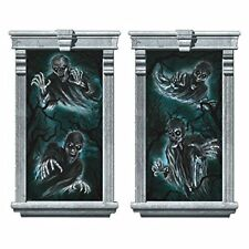 CEMETERY WINDOW SILHOUETTES Scene Setter Halloween Party Decorations Ghosts