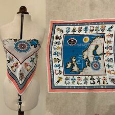 Vintage Hermes Style Italian Chains Gems Gold Motif Vibrant Red Blue Scarf Top