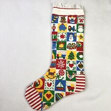 Vtg Quilted Christmas Stocking Multi Color Medium 16 X 6