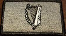 Irish Ireland Harp Flag Patch W/ VELCRO Brand Fastener Gray & Black Border
