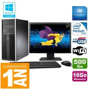 "PC Tour HP Compaq 8200 Intel G630 Ram 16Go Disque 500 Go Wifi W7 Ecran 27"""