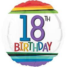 "18th BIRTHDAY PARTY SUPPLIES BALLOON 17"" BIRTHDAY RAINBOW CONFETTI FOIL BALLOON"