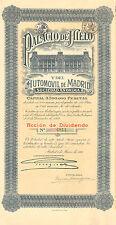 Palacio de Hielo y Automovil de Madrid SA, accion de dividendos, Madrid, 1921