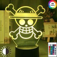 Acrylic Led Night Light Anime ONE PIECE LOGO Bedroom Decoration Cool Desk 3dLamp