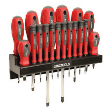 Great Working Tools 18 Piece Screwdriver Set - Magnetic Steel Tip Blades & Rack