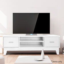 White 118cm Low-line TV Stand Table Unit w/ Storage Cupboard Cabinets