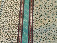 Vintage Calico Fabric Petite Floral Stripe Cotton Feedsack Reproduction print YD