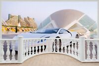 Huge 3D Balcony Exotic Sports Car Wall Stickers Mural Wallpaper 351