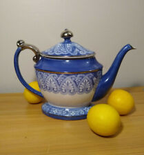 Bombay Made in China Beautiful Blue, White, and Platinum Teapot With Lid - Mint