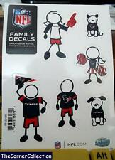 NFL TEXANS FAMILY STICK PEOPLE AUTO BACK WINDOW DECAL SET