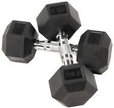 🔥🔥 20 LB DUMBBELLS PAIR OF 2 RUBBER COATED ✅ IN HAND!! BRAND NEW WORKOUT HEX