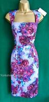 New MONSOON Purple Floral CLARISSA Galaxy SCUBA Stretch Shift Dress 10 12 14 22