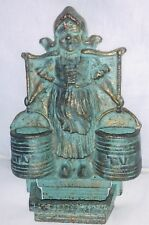Vintage Metal Brass/Verdigris Finish Wall Match Dble Holder Dutch Girl 2 Buckets