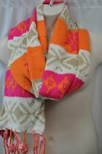 Winter Women SO White Pink Orange Fringe Fair Isle Muffler Scarf MSRP $28