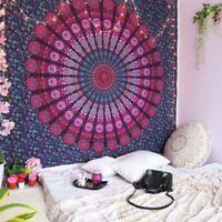 Pfauenfeder Mandala Lila Tagesdecke Wandbehang 100% Baumwolle Deko Tuch Queen