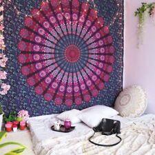 Pfauenfeder Lila Mandala Tagesdecke Wandbehang 100% Baumwolle Deko Tuch Queen