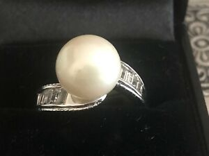TJC Fresh Water White Pearl Swirl Ring Sterling Silver White Zircon