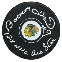 BOBBY HULL Signed Chicago Blackhawks Logo Hockey Puck w/12x NHL All Star - SS