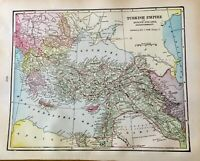 Antique Map of Turkish Empire verso Russia in Asia Gallery Wall Art c1906 atlas