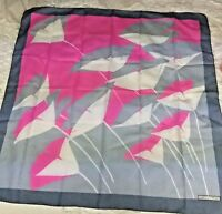 """Vtg 80's Geometric Floral Scarf Marco Corsari Scarf Pink Gray 30"""" Sq Hand Rolled"""