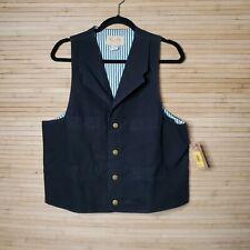 NWT Scully Men's Western cowboy Canvas Vest Tan Sz M Black Button